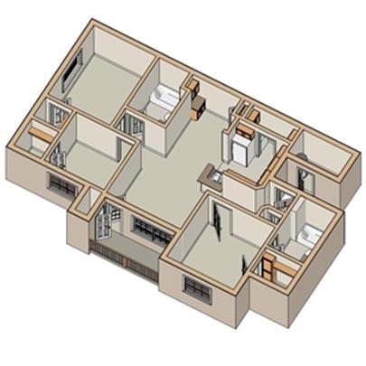 The Oak 2 Bedrooms, 2 Bathrooms Floor Plan